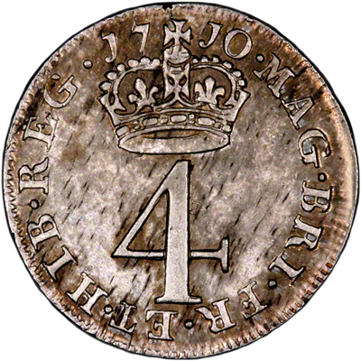 Reverse of 1710 Maundy Fourpence