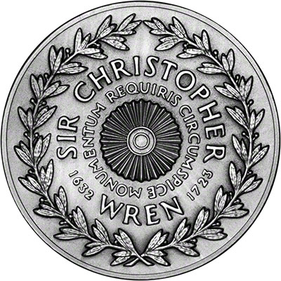 Reverse of Sir Chritopher Wren Silver Medallion