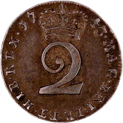 Reverse of 1743 Maundy Twopence