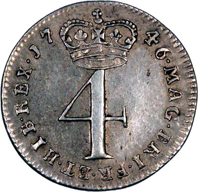 Reverse of 1746 Maundy Fourpence