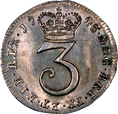 Reverse of 1746 Maundy Threepence
