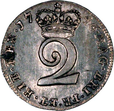 Reverse of 1746 Maundy Twopence