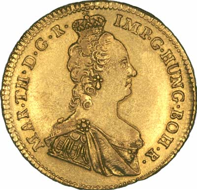 Maria Theresa  on Obverse of 1756 Austrian Netherlands  Gold Souverain D'Or