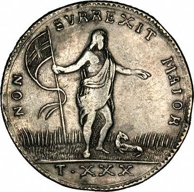Obverse of 1761 Maltese Thirty Tari