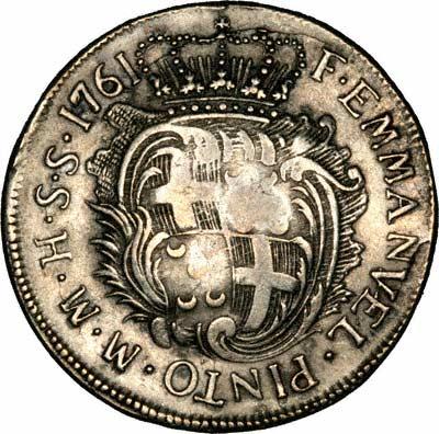 Reverse of 1761 Maltese Thirty Tari