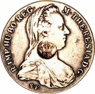 Crowned PM Countermark for Mozambique on Obverse of 1780 Maria Theresa Thaler