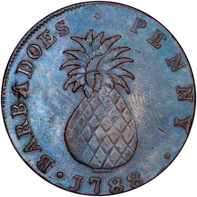 Reverse of 1788 Barbados One Penny