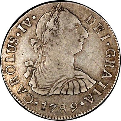Obverse of 1789 Guatemalan 2 Reales