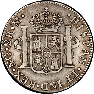 Reverse of 1789 Guatemalan 2 Reales