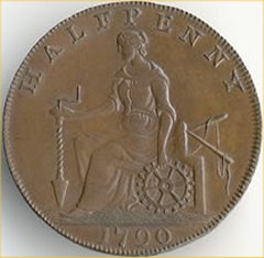 Britannia on 1790 Halfpenny Token