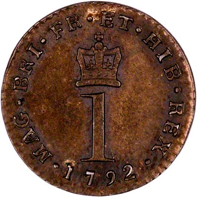 Reverse of 1792 Maundy Twopence
