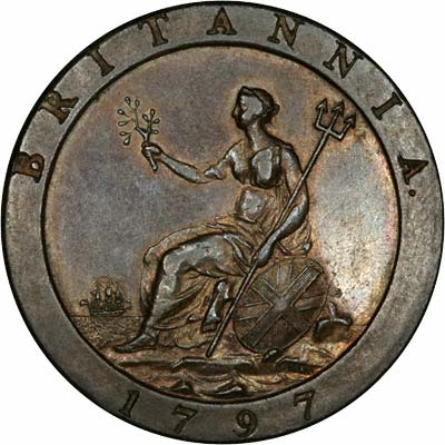 Britannia on Reverse of Cartwheel Twopence of 1797