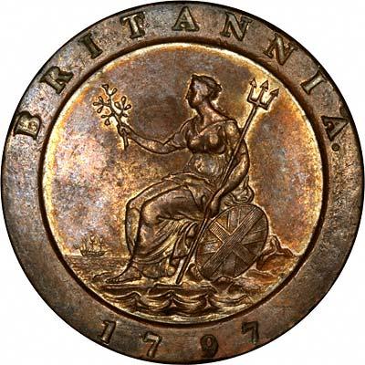 Reverse of 1797 Cartwheel Twopence