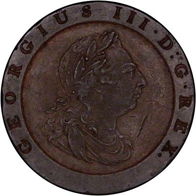 Obverse of 1797 Cartwheel Twopence