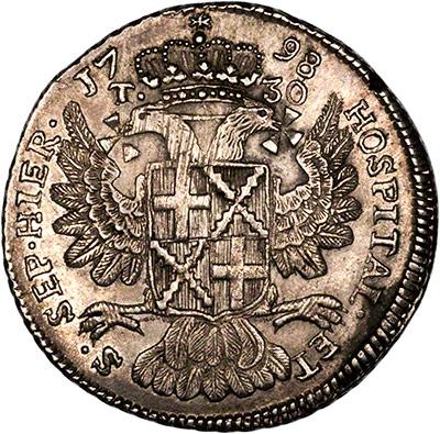 Reverse of 1790 Maltese Thirty Tari