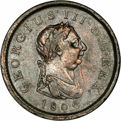 Obverse of 1806 George III Copper Penny