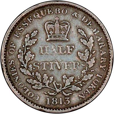 Reverse of 1813 Essequibo & Demerara Half Stiver