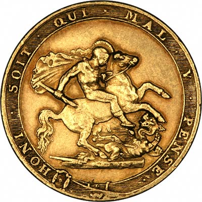 1817 Gold Sovereign Reverse Featuring Honi Soit Qui Mal Y Pense.