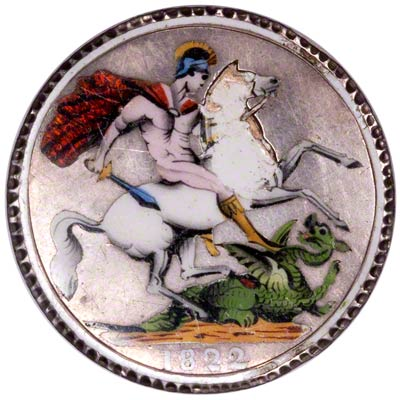 St. George & Dragon on Reverse of Enamelled 1822 George IV Silver Crown