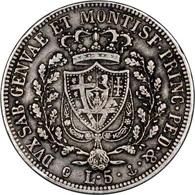 Reverse of 1825 5 Lire