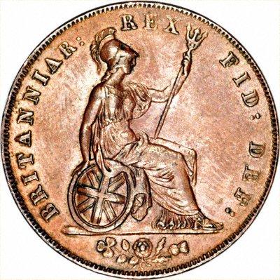 Britannia on an 1827 George IV Halfpenny