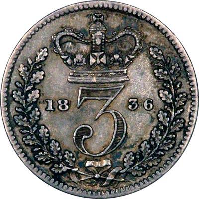 Reverse of 1836 Maundy Threepence