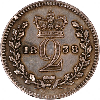 Reverse of 1838 Maundy Twopence