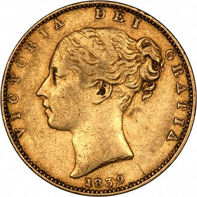 1839 Victoria Young Head Sovereign Obverse