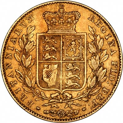 1839 Victoria Young Head Shield Sovereign Reverse