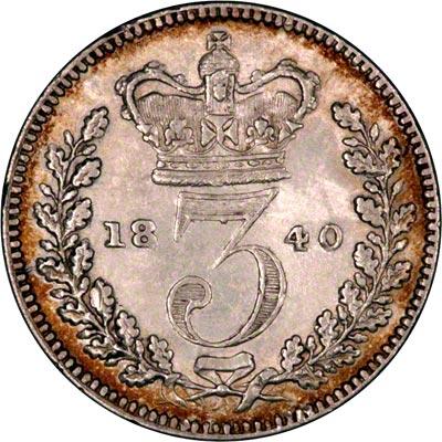 Reverse of 1840 Maundy Threepence