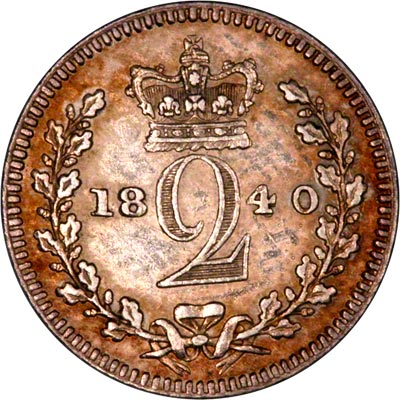 Reverse of 1840 Maundy Twopence