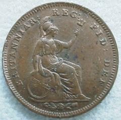 Britannia on the Reverse of a Third Farthing of 1844