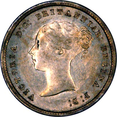Obverse of 1845 Maundy Fourpence