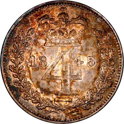 Reverse of 1845 Maundy Threepence