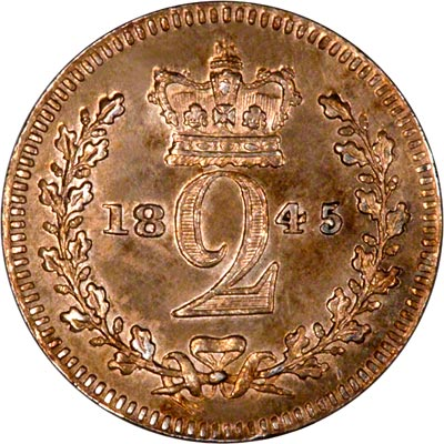 Reverse of 1845 Maundy Twopence