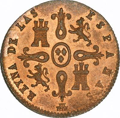 Isabel II on Obverse of 1847 Spanish 4 Maravedis