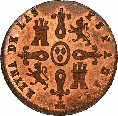 Reverse of 1847 Spanish 4 Maravedis