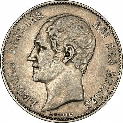 Leopold I on Obverse of 1850 Belgian Silver 5 Francs