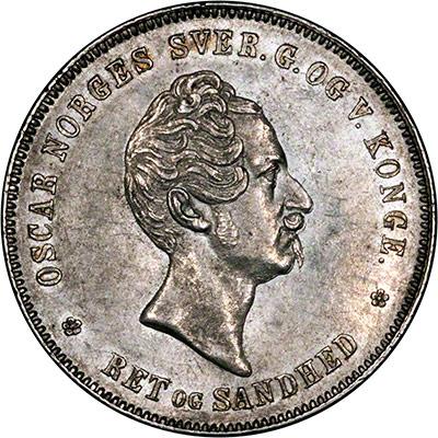 Obverse of 1850 Norwegian Specie Daler