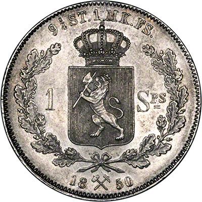 Reverse of 1850 Norwegian Specie Daler