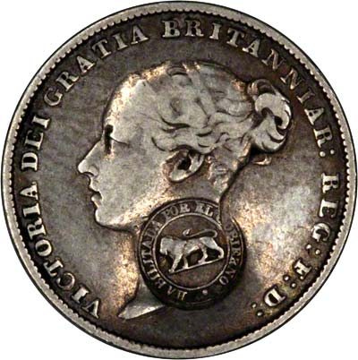 Obverse of Coutnermarked British Sixpence