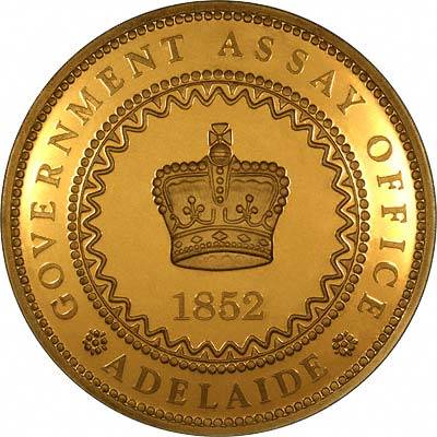 Obverse of 1852 Adelaide Gold Plated Pound Replica Coin