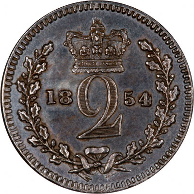 Reverse of 1854 Maundy Twopence