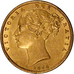 Young Head Shield Type Gold Sovereign of Queen Victoria