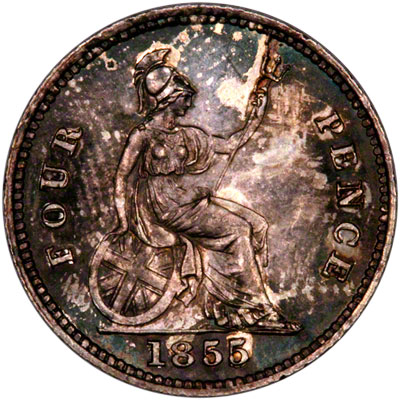 Reverse of 1855 British Guiana Fourpence