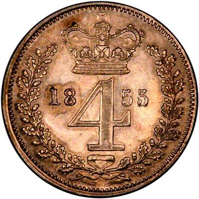 Reverse of 1855 Maundy Fourpence