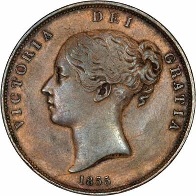 Obverse of 1855 Victoria Young Head Bronze Penny