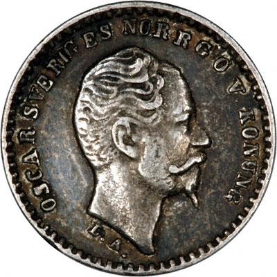 Obverse of 1855 Swedish 10 Ore