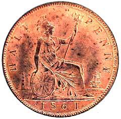 1861 Victoria Bronze Halfpenny Reverse