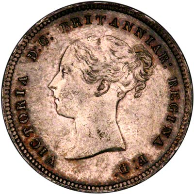 Obverse of 1861 Maundy Four Pence